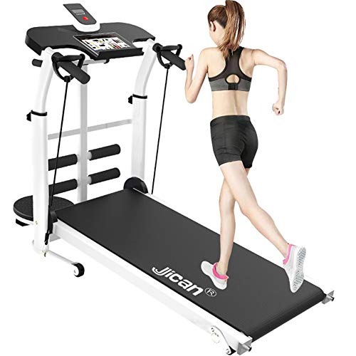 DUDM Multifunzione Portatile Running Machine for Home Inclinazione + Pieghevole Piccolo Tapis Roulant Salvaspazio Meccanico Silenzioso Tappeto da Corsa con Schermo HD per Fitness Etc110x115x55cm