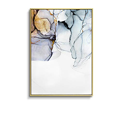 ZNLEY.O Canvas Wall Art Nordic Morden Abstract Blauw-grijze lijn Schilderen Golden blauwe rook Print Poster Wall Picture for Living Room (Color : A, Size (Inch) : 40X60cm No Frame)