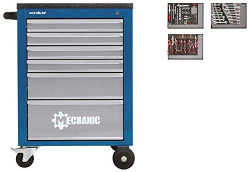 CAROLUS 2246.2802 Werkstattwagen Mechanic blau mit Werkzeugsatz 2250.3802, 132-tlg