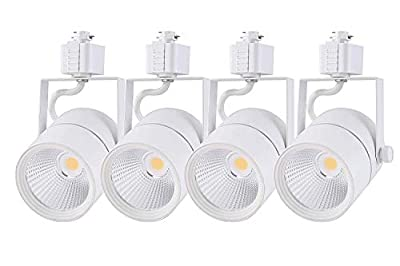 Cloudy Bay 20W Dimmable LED Track Light Head,CRI 90+ Cool White 4000K,Adjustable Tilt Angle Track Lighting Fixture,40° Angle for Accent Retail,White Finish,Halo Type-4 Pack