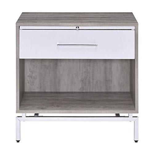 Mesita de noche, mesitas de noche, cajón, mesita de noche, muebles de dormitorio, mesa rectangular (color: blanco, tamaño: 60 x 60 x 40 cm)