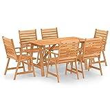 Ksodgun Juego de Comedor para jardín 7 Piezas Madera Set Muebles de Jardin para Terraza Conjunto de Sillas Maciza de Acacia