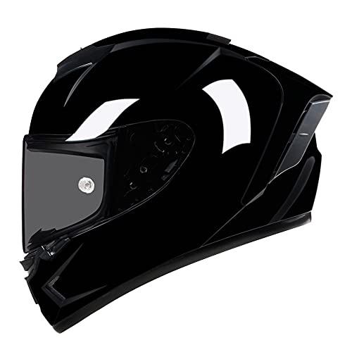 Woljay Integralhelm Motorradhelm Helm Straße Fahrrad Rennen Moto-Cross Offroad Moto Unisex Erwachsene Schwarzglänzend ECE 22/05 DOT Zertifiziert (Extragroß, Rauch)