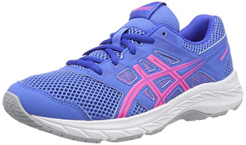 ASICS Unisex-Kinder Contend 5 Gs Laufschuhe, Blau (Blue Coast/Hot Pink 402), 35.5 EU
