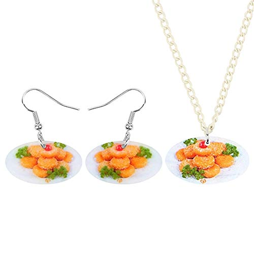 YGDH Acrylic Thanksgiving Delicious Pumpkin Pie Jewelry Set Necklace Earrings Decorations For Women Girls Teens Gift (Color : Multicolor)