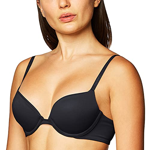 Calvin Klein Women's Constant Push Up Plunge Bra, 34D, black