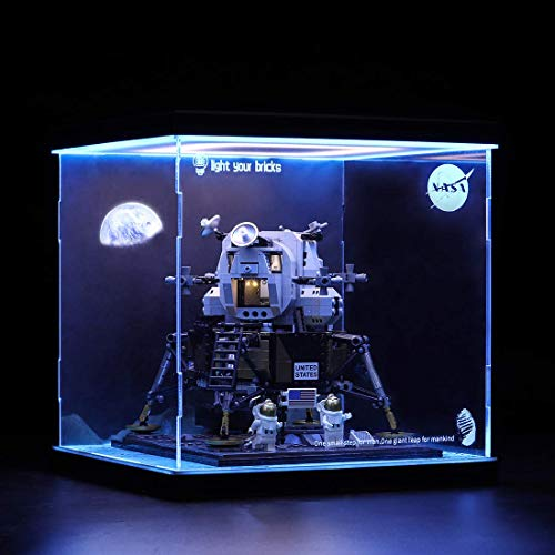 Vitrina de exhibición para Lego NASA Apollo 11 Lunar Module 10266 – Exhibidor acrílico escaparate (solo caja de exhibición), Licht Drei