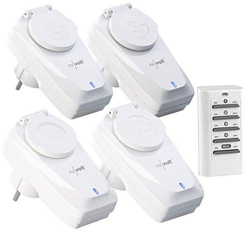 revolt Funkschalter außen: 4er-Set Außen-Funksteckdosen, Fernbedienung, IP44, bis 5 A, 1.150 Watt (Funkschalter IP44)