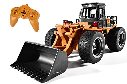 Remote Control Bulldozer Toy 1:16 Hobby RC Trucks Caterpillar Aluminum Alloy Rc Front Loader 4WD for 8-15 Years Old Boys Kids Gift