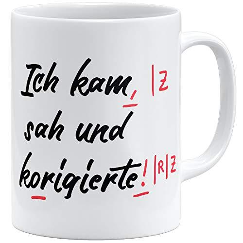 OM3® lustige Lehrer Tasse | Keramik Becher | 11oz 325ml | Beidseitig Bedruckt | Weiss