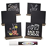 ONUPGO Chalkboard Signs Tabletop Blackboard with Base Stand (6 Pack), 5x6 Inch Vintage Wooden Decorative Craft Place Cards, Message Chalk Board Sign for Party, Restaurant, Wedding, Bar and Home