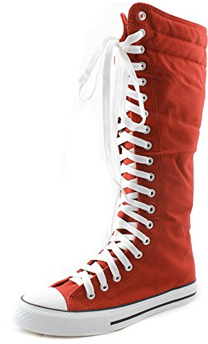 DailyShoes Women's Sneaker Boots Boot Knee-high Mid Calf Tall Fashion Sneakerss Lace Up Autumn Design Lace-up Super High Top Athletic Shoes for Women Punk-hi Red 6