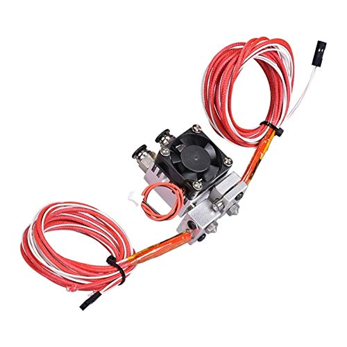 XIAOFANG Fangxia Store 3D Chimera Hotend Kit 2 IN 2 OUT Extruder Multi-extrusion All Metal MK8 V6 Dual Single Extruder 0.4mm/1.75mm 3D Printer Parts (Color : Double with 12v)