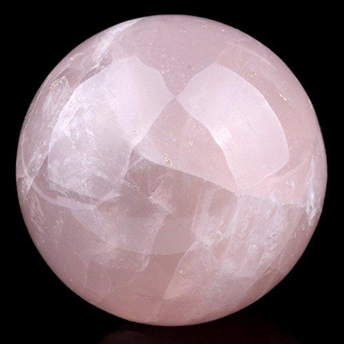 Healing Crystals India Esfera de cuarzo rosa natural, de 50-60mm, bola de cristal pulido para terapias curativas, feng shui, equilibrio de chacras
