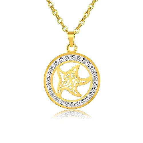 Collar de moda Bling Zircon collares con colgante de estrella de mar para mujer, encanto de moda, gargantilla de Color dorado, joyería de declaración femenina, regalos
