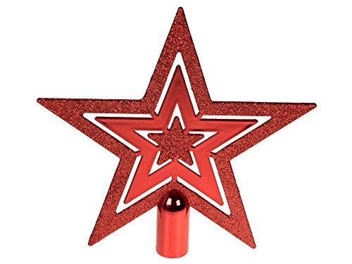 Clever Creations - Flache Weihnachtsbaumspitze - glitzernder Stern mit 5 Zacken - Festliche Weihnachtsdeko - unbeleuchtet - bruchsicherer Kunststoff - Rot - 20,3cm