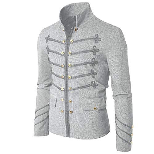 Vintage sólido chaqueta gótica Steampunk Rock Frock uniforme masculino vintage punk disfraz de metal militar abrigo Outwear Gris 1 L