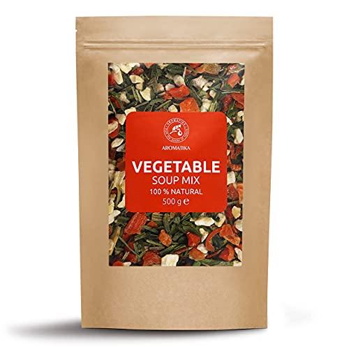 Mezclas de Sopa Deshidratada - Verduras Mixtas para Sopa - Vegetal Mix para Condimentos - Verduras Secas Mixtas - Crudos - Mezcla de Verduras Secas - Verduras Deshidratadas para Sopa - 500g
