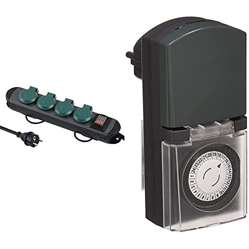 Electraline 62185 Regleta Base Multiple Profesional para Exteriores, 4 Enchufes Schuko con Enchufe Ip44+ 59502 Programador Timer Diario para Uso Exterior Ip44, Color Verde