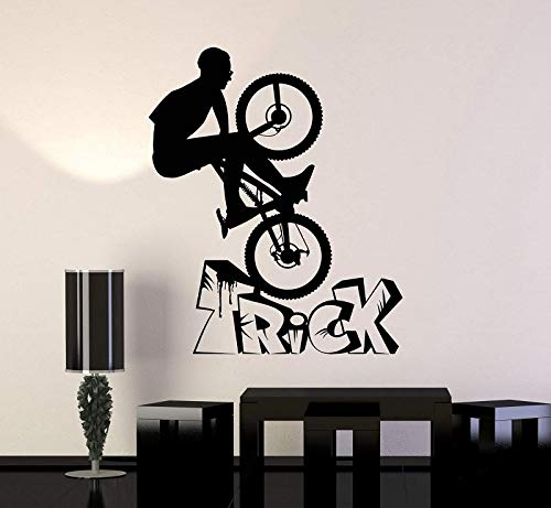 HNXDP Vinyl Wandapplikation Fahrrad BMX Fahrrad Teen Schlafzimmer Sportaufkleber einzigartiges Geschenk Fahrrad Shop Dekoration QC32 57x69cm
