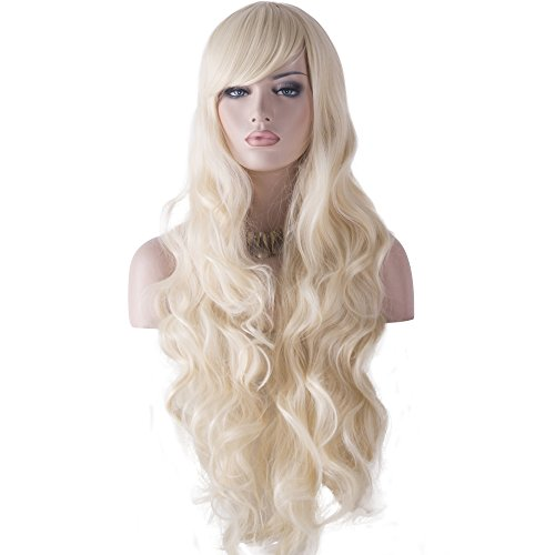 DAOTS 32' Cosplay Wigs Long Wig Hair Heat Resistant Curly Wave Hairs for Women (Light Blonde)