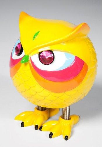 Kare Spardose Eule Angry Owl Auswahl, mit Sprungfeder-Füßen, Maße: 15 x 11 x 8 cm, Material: Polyresin, Sparschwein - Ersatz für Kinder, ideal für Geld-Geschenk, Farbe:gelb