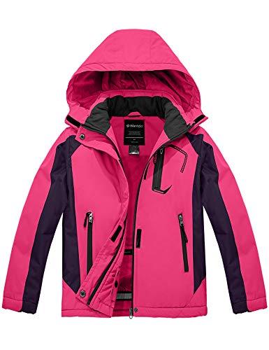 Wantdo Girl's Winter Ski Jacket Waterproof Rain Coat for Outdoors Rose Red M