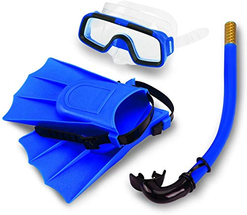 HUEX Mask Fins Snorkel Set Kids, Swim Goggles 180 Panoramic View Anti-Fog Anti-Leak Dry Top Snorkel and Dive Flippers Kit with Gear Bag for Snorkeling Swimming Scuba Diving Training