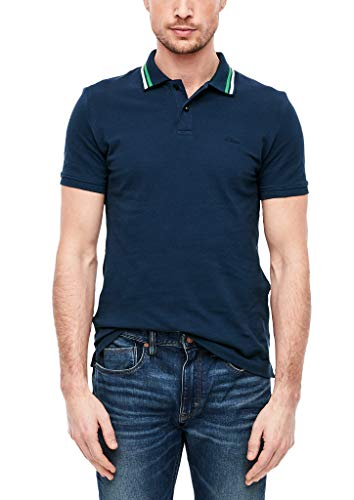 s.Oliver Herren Poloshirt mit gestreiftem Kragen blue XXL