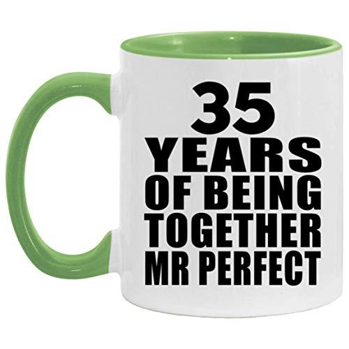 35th Anniversary 35 Years Of Being Mr Perfect - 11oz Accent Mug Green Kaffeebecher 325ml Grün Keramik-Teetasse - Geschenk zum Geburtstag Jahrestag Weihnachten Valentinstag