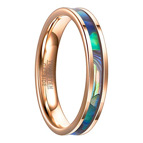 Nuncad Ring Damen Rosegold 4mm, Wolfram Unisex Ring mit Muschel Design für Alltag, Arbeit, Hochzeit, Verlobung und Trauung, Größe 57 (17)