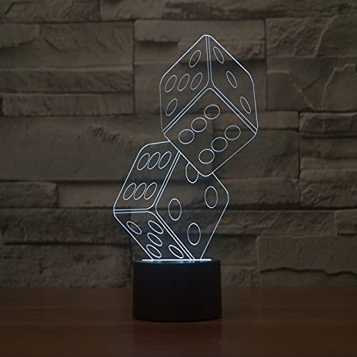 Yyhmkb Escritorio Infantil Color Reloj Infantil Casa Luz De Trabajo Fiesta Luz Dados Creativos Luz Estéreo Visual 3D Luz De Ilusión Luz De Carga Táctil Colorida Gradiente De Ahorro De Energía