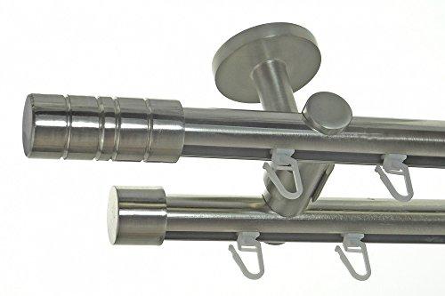 BASIT Innenlauf Gardinenstange Edelstahl Look 20mm Deckenbefestigung, 2-läufig Zylinder, Länge wählbar D40 E34E30, Länge:240 cm