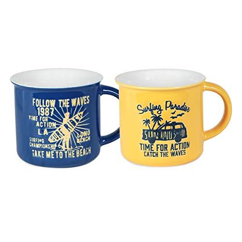 Decor And Go Mug Con Caja Regalo Sigris Incluye 2 Unidades Cocina Mugs Y Vasos Colección Surf