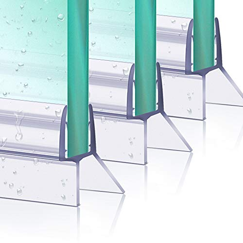 Duschtür Dichtung Bad Duschschirm Dichtung, 3 Stück 80 cm Kunststoff-Duschtür Dichtung Streifen für 6-8 mm Glastür Stärken, Gerade & Gebogene Glasschirme Spalt bis zu 12 mm, Bodenduschschirm Dichtung