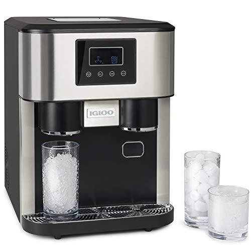 Igloo ICEBDS33SS Stainless Steel Dual Nugget Style Ice Crusher and Cube Maker, Makes 33 Pounds in 24 Hours, Small or Large, With Water Dispenser, LED Display