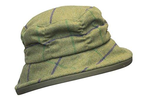 Walker & Hawkes - Damen Tweed-Fischerhut im Country-Design - Muster mit lila Streifen - Größe L (59cm)