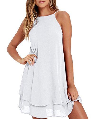 Style Dome Sommerkleid Damen Ärmellos Rückfrei Einfarbig Strand Casual Träger Mini Kleid Weiß-668107 2XL