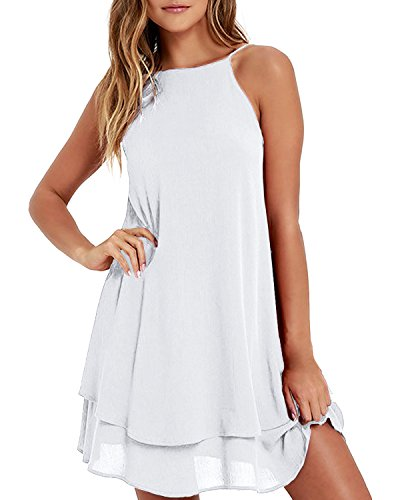 Style Dome Sommerkleid Damen rmellos Rckfrei Einfarbig Strand Casual Trger Mini Kleid Wei-668107 XL
