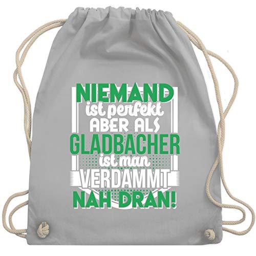 Shirtracer Städte - Niemand ist perfekt Gladbacher - Unisize - Hellgrau - Statement - WM110 - Turnbeutel und Stoffbeutel aus Baumwolle