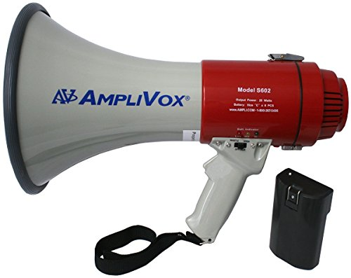 Amplivox SB602R Bundled Mity-Meg 25W Megaphone with Rechargeable Battery Pack, Effective Range 1760 Yards/One Mile, Comfortable Pistol Grip, Play Siren Function, Play Whistle Function