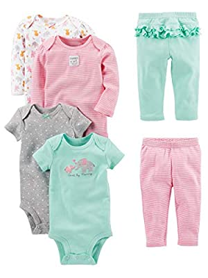 Simple Joys by Carter's Baby Girls' 6-Piece Little Character Set, Pink/Mint Ruffle, Newborn