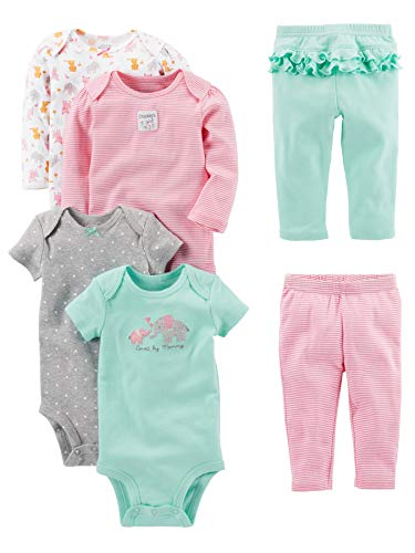 Simple Joys by Carter's Baby Girls' 6-Piece Little Character Set, Pink/Mint Ruffle, 0-3 Months