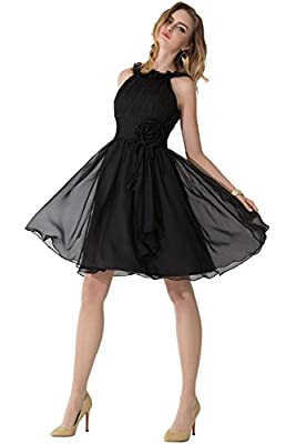 SUNVARY Summer Halter Chiffon Short Cocktail Homecoming Prom Junior Maxi Pageant Gowns Size 2- Black