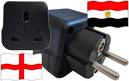 Adaptador de enchufe para Egipto – Adaptador de enchufe de Inglaterra con protección de contacto enchufe de viaje