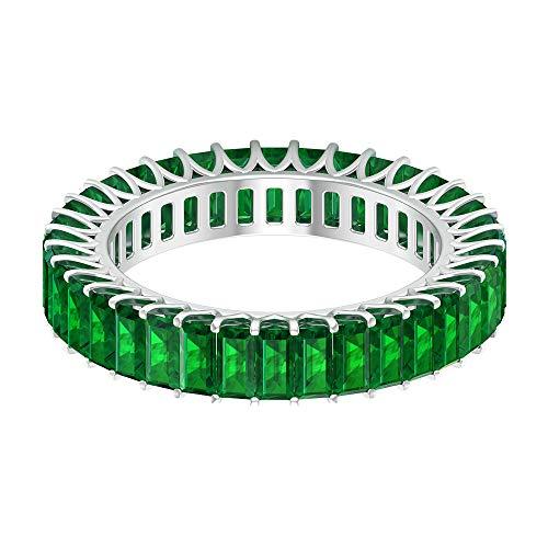 Anillo de eternidad de piedra verde esmeralda creado en laboratorio de 3,88 quilates, para mujer, 2 x 4 mm en forma de baguette, anillo de boda de oro, 18K Oro blanco, Size:EU 47