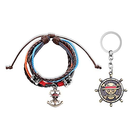 Anime One Piece Bracelet One Piece Trafalgar Law Keychain Luffy Skeleton Straw Jewelry Chopper bracelet One Piece Fans Gifts(Skeleton)