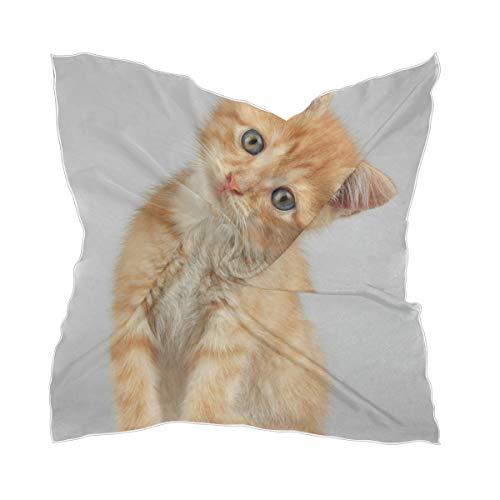 XiangHeFu hoofddeksel zakdoek chiffon zijden sjaal nieuwsgierig katje baby kat scheren dunne dames