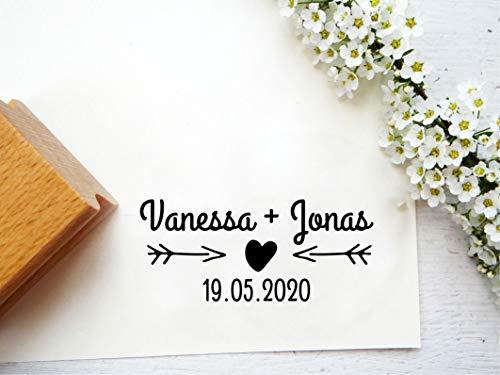 personalisierter Hochzeitsstempel mit Wunschnamen und Wunschdatum personalisiert für Gastgeschenke, Einladungskarten, Menükarten