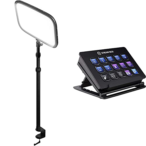 Elgato Key Light, Professional Studio LED Panel with 2800 lumens, Colour Adjustable, App-Enabled, for PC and Mac, Metal Desk Mount & Stream Deck Live Content Creation Controller